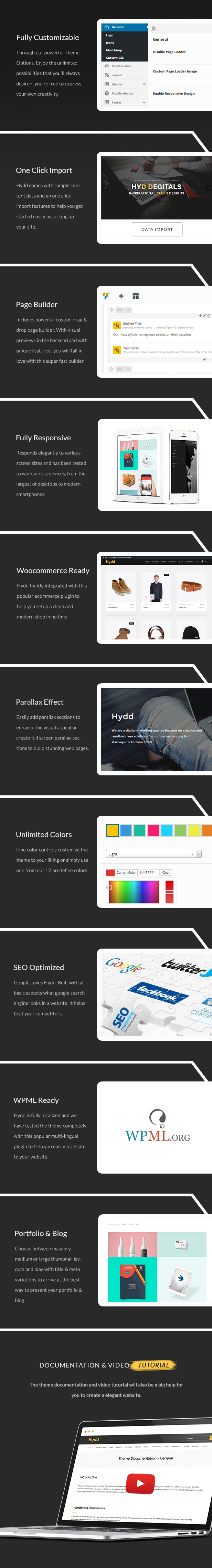 zozothemes  Download Hydd – Creative Multi-Purpose WordPress Theme nulled hydd front features